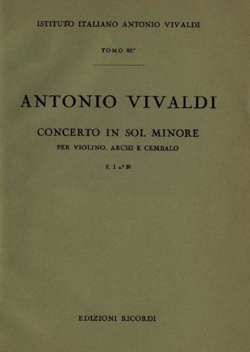 Concerto in sol minore. T. 92